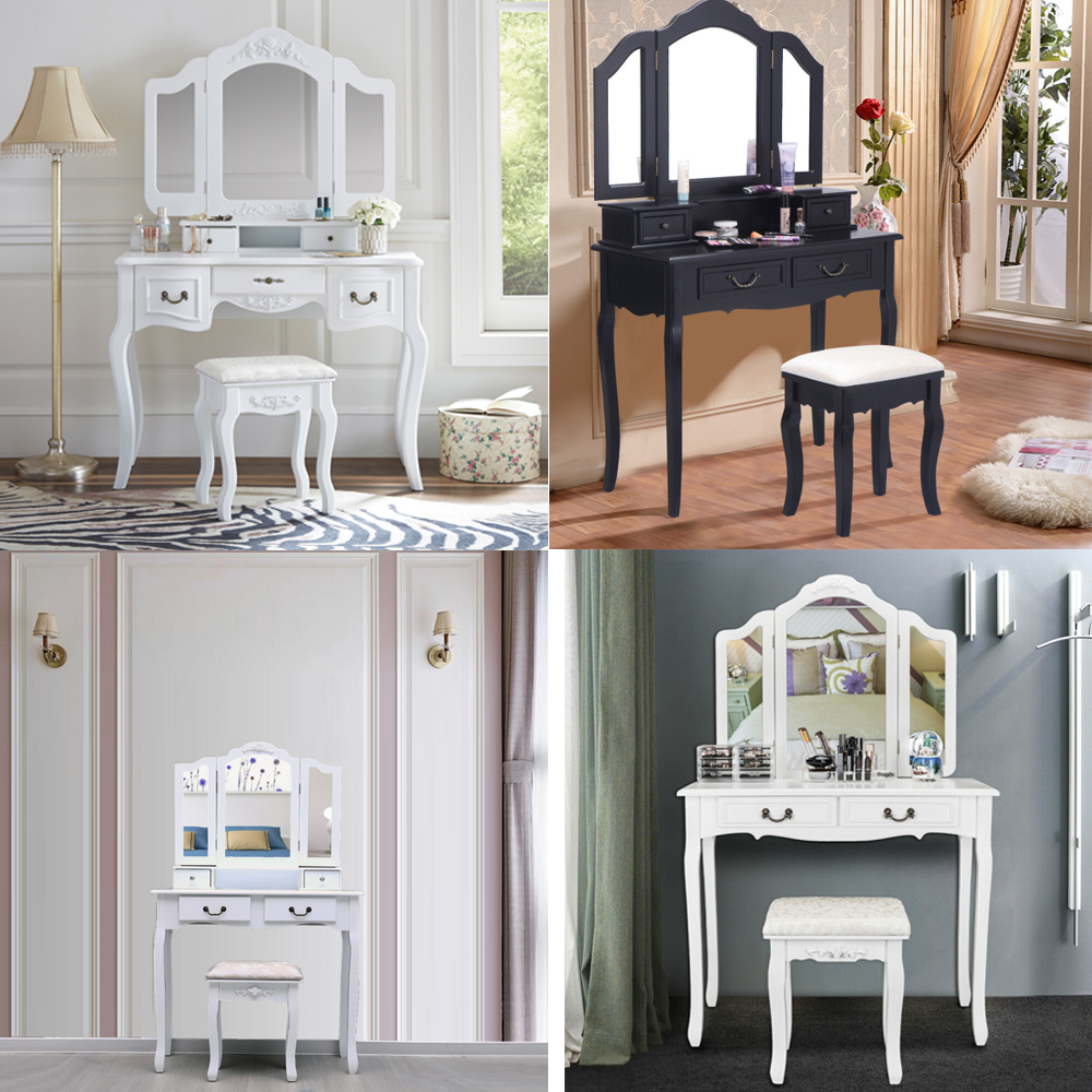 Details about Vanity Table Set Makeup Dressing Woman Girls Bedroom Table  Tri Folding Mirror