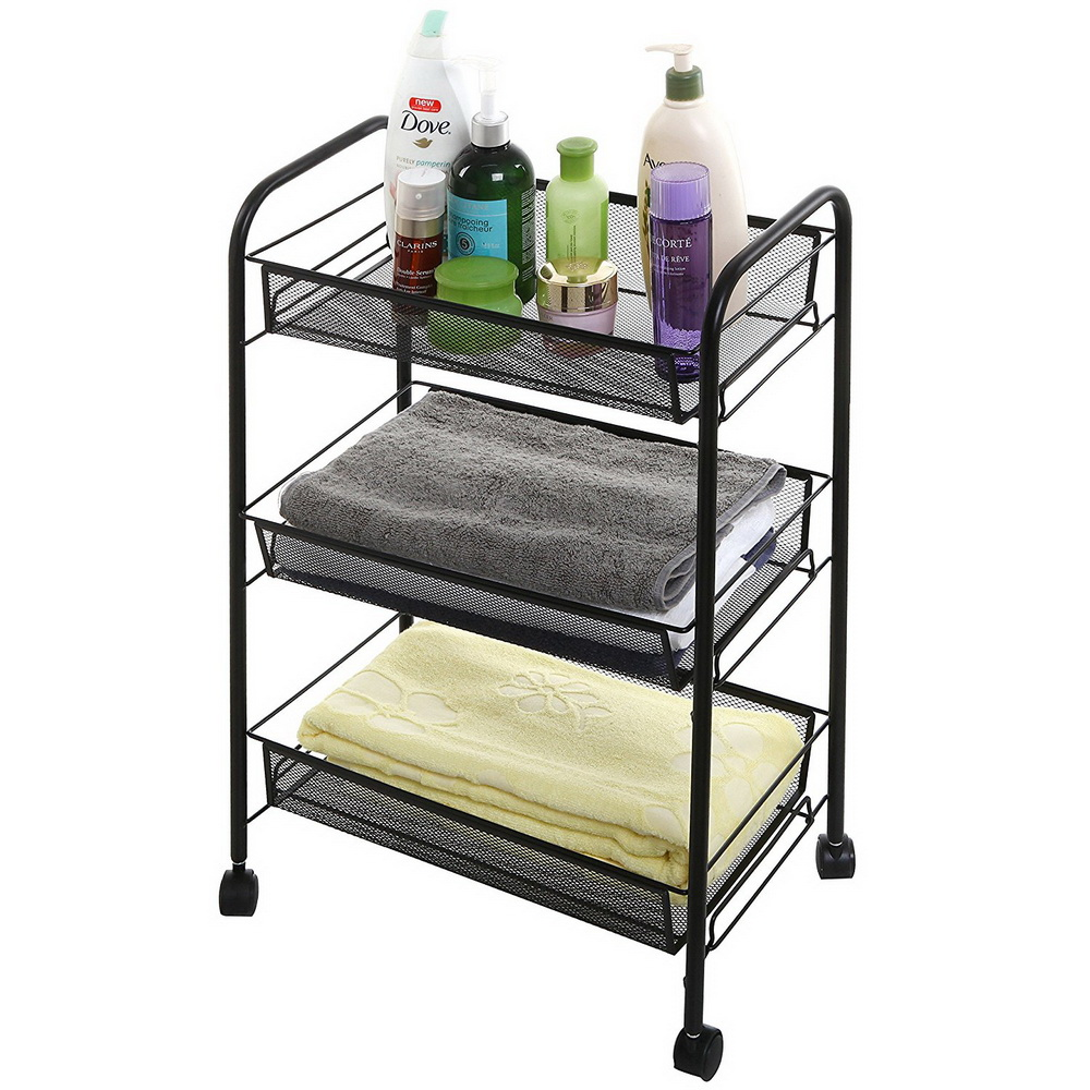 details about multi-function mesh storage rolling cart 3 tier shelf  w/trolley rack organizer