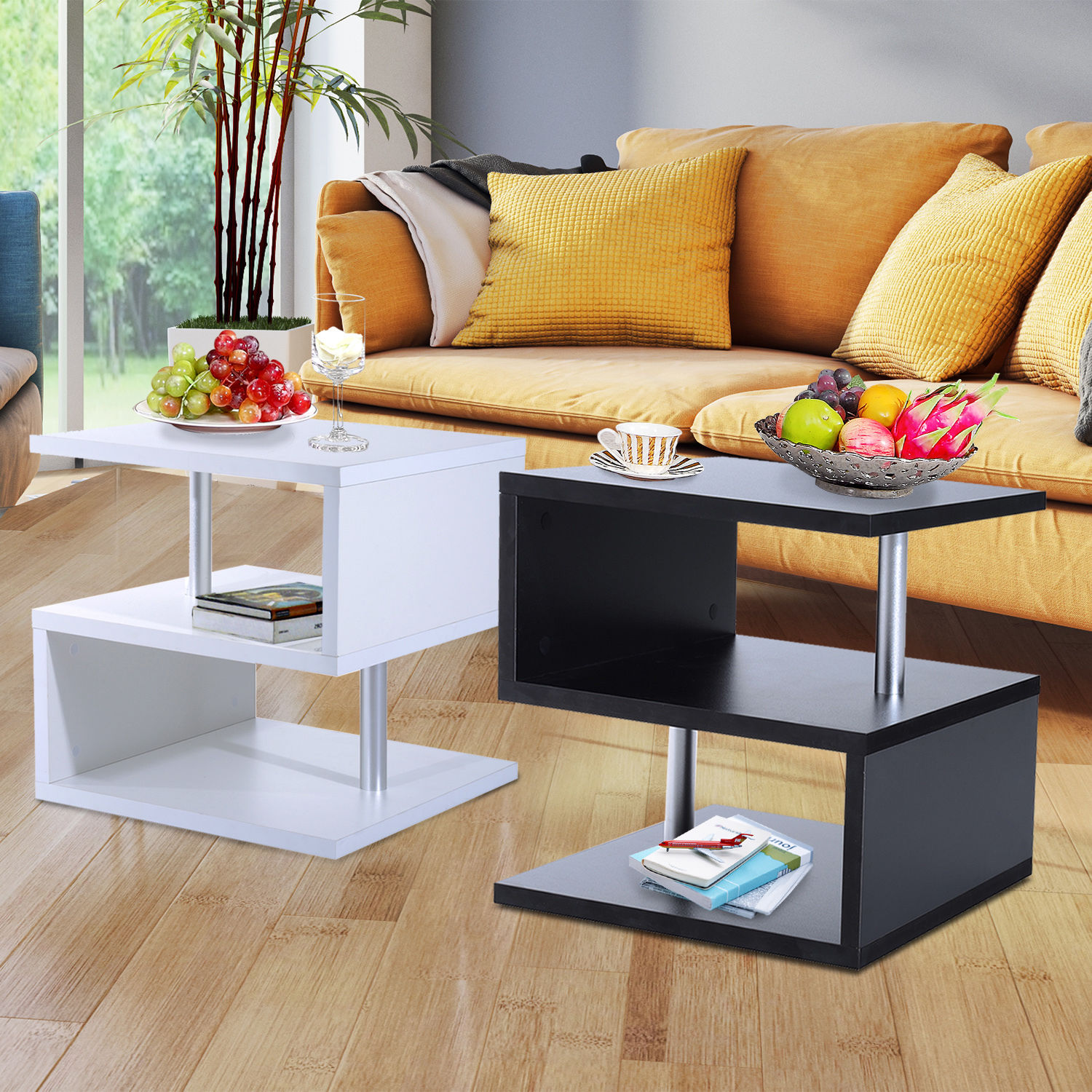 Details About Modern Coffee Table Side End Table 2 Shelf Storage Living  Room Furniture