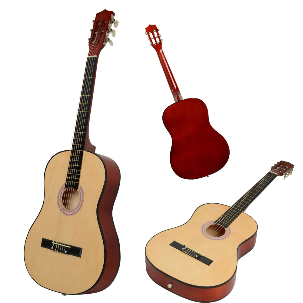 38 Basswood Fingerboard Classical Acoustic Guitar Wood Color Ebay