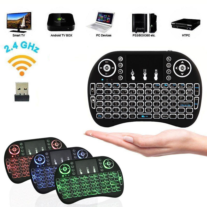 d0ff911a1be i8 2.4Ghz Mini Wireless Keyboard Remote Controls Touchpad Black for Smart  TV PC