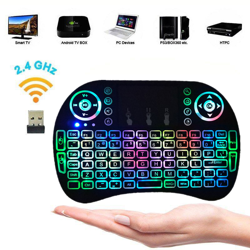 Mini Wireless Keyboard Touchpad LED Backlight 2.4GHz Android TV Box PC Laptop UK