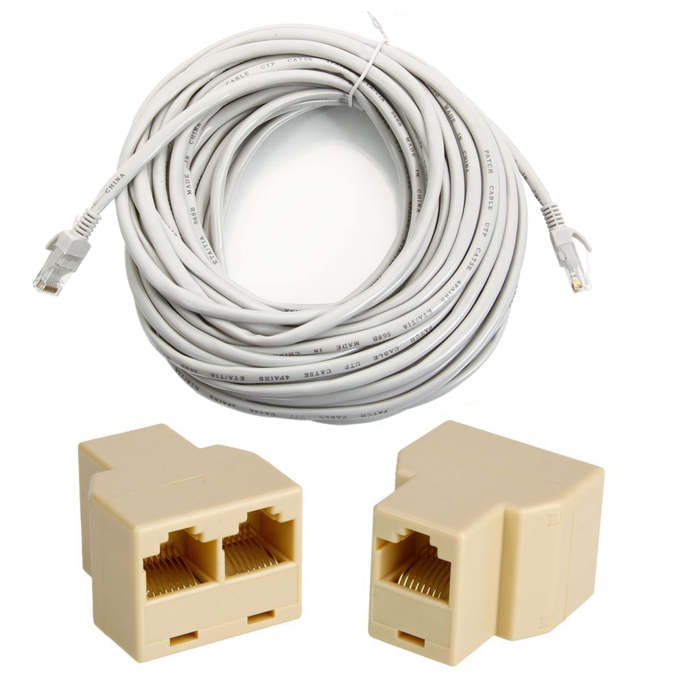 50 39 ft 15m cat5 5e rj45 patch ethernet network cable grey. Black Bedroom Furniture Sets. Home Design Ideas