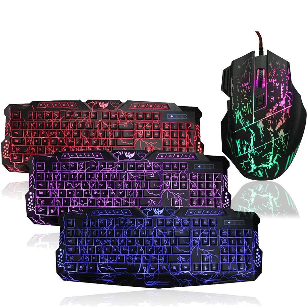 USB Wired 3 colors LED Illuminated Backlit Pro Gaming Crack Keyboard ...