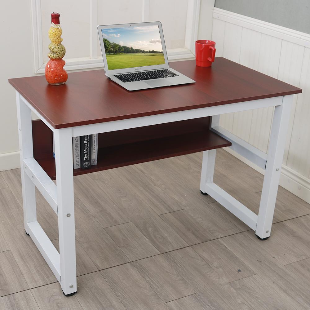 Wood Computer Desk Multipurpose Study Desk With Bookshelf