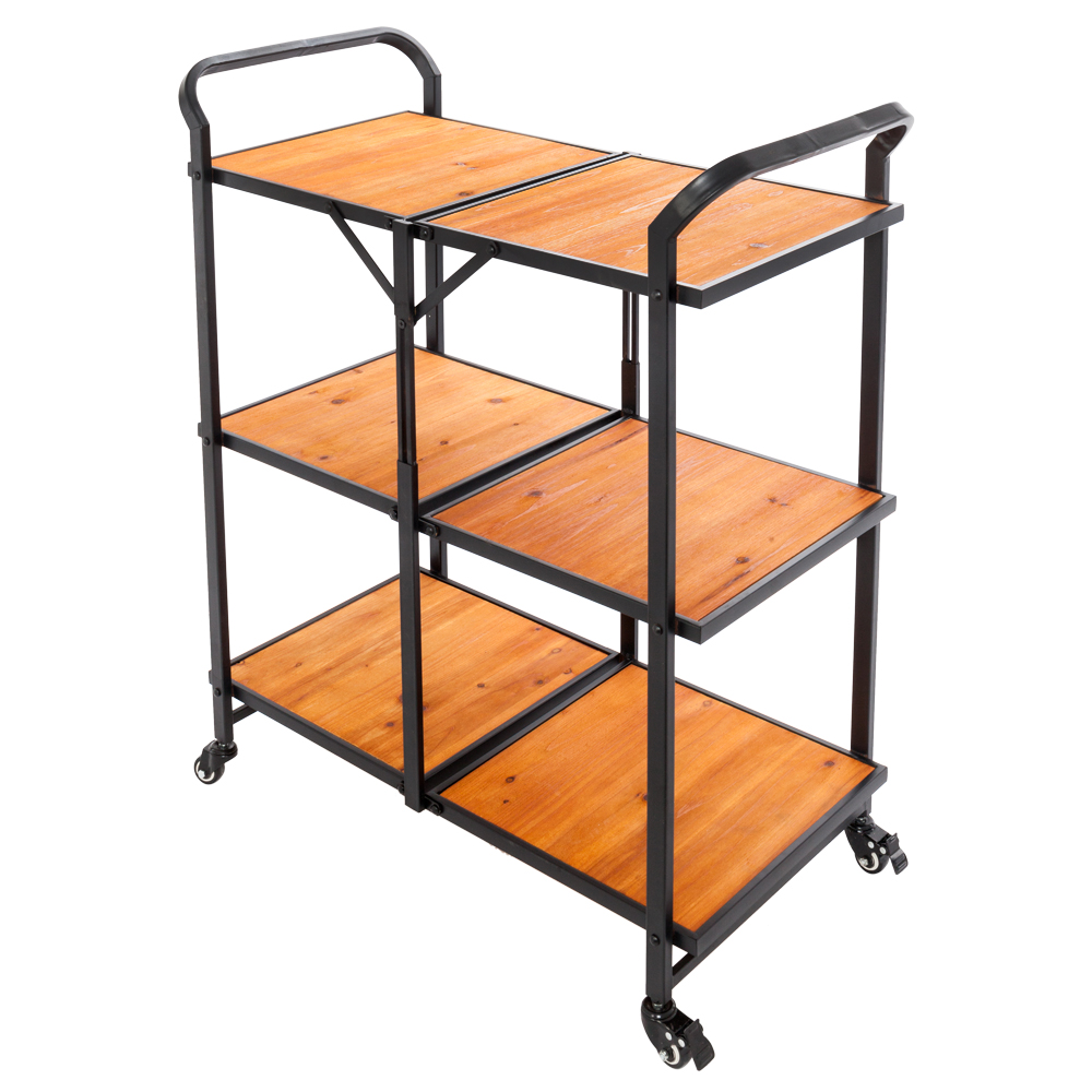 Details about Wood Mobile Kitchen Island Counter Utility Server Cart Black  Iron