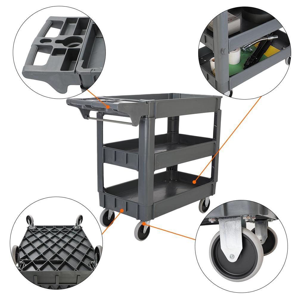 New 3 Tier Plastic Utility Service Cart 550 Pounds Capacity Ebay