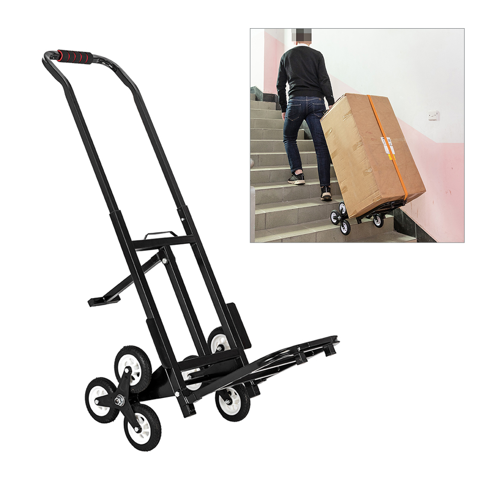 Details about Portable Stair Climbing Folding Cart Climb Hand Truck Dolly  with Backup Wheels