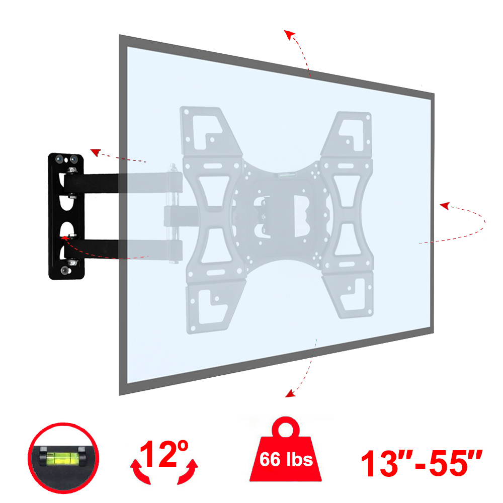 Full Motion TV Wall Mount VESA Bracket for 24 29 32 36 37 40 42 46 49 50 55 inch