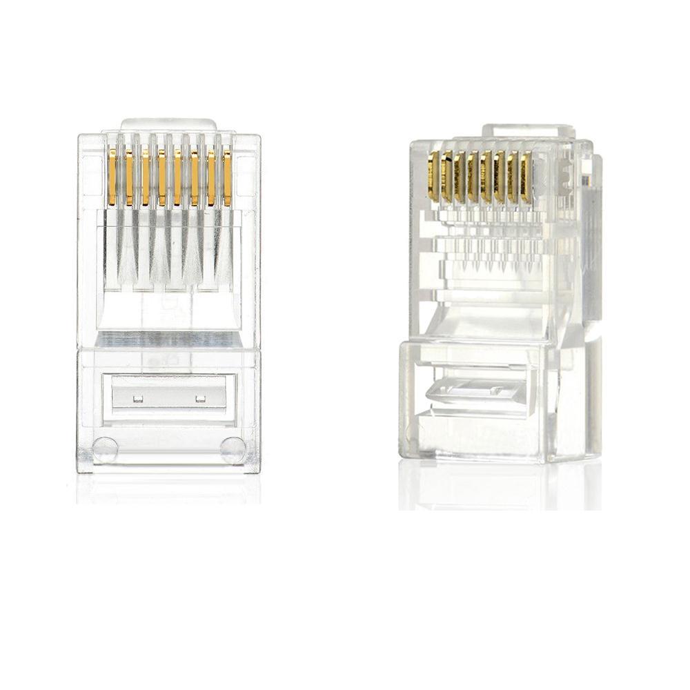 New 100pcs Rj45 Rj 45 Cat 5 Modular Plug Ethernet Gold