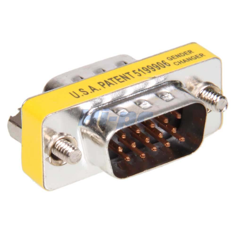 15 Pin HD SVGA VGA Male To Male Gender Changer Adapter