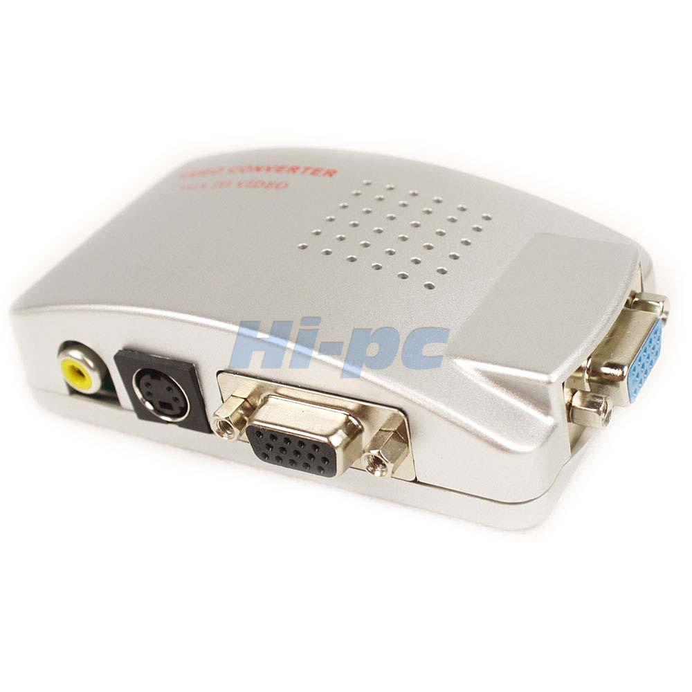 PC Laptop VGA To TV RCA Composite S Video Converter Box